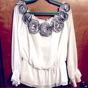 NWT Simply Liliano White Off the Shoulder Top